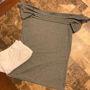 Talbots pin-tuck grey tshirt.